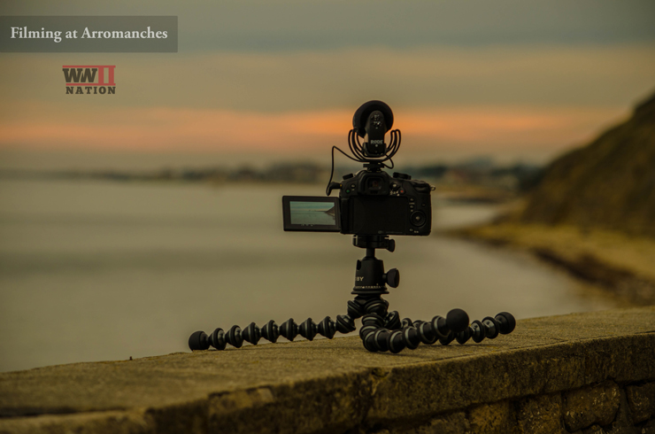 Filming-at-Arromanches-Mulberry-Harbour