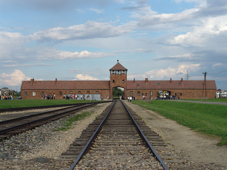 The main gate at the former German Nazi camp of Auschwitz II (Birkenau)