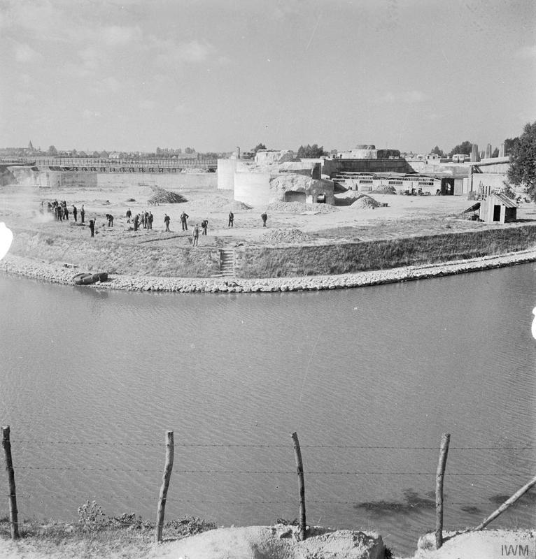 Gestapo interrogation and detention centre at Breedonck in Belgium: A general exterior view of the German prison at Breedonck showing the wide moat which surrounds it.