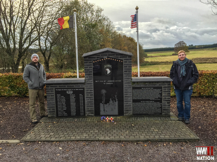 ross-lawrence-at-the-memorial-to-101st-airborne-divisions-easy-company-at-the-bois-jacques