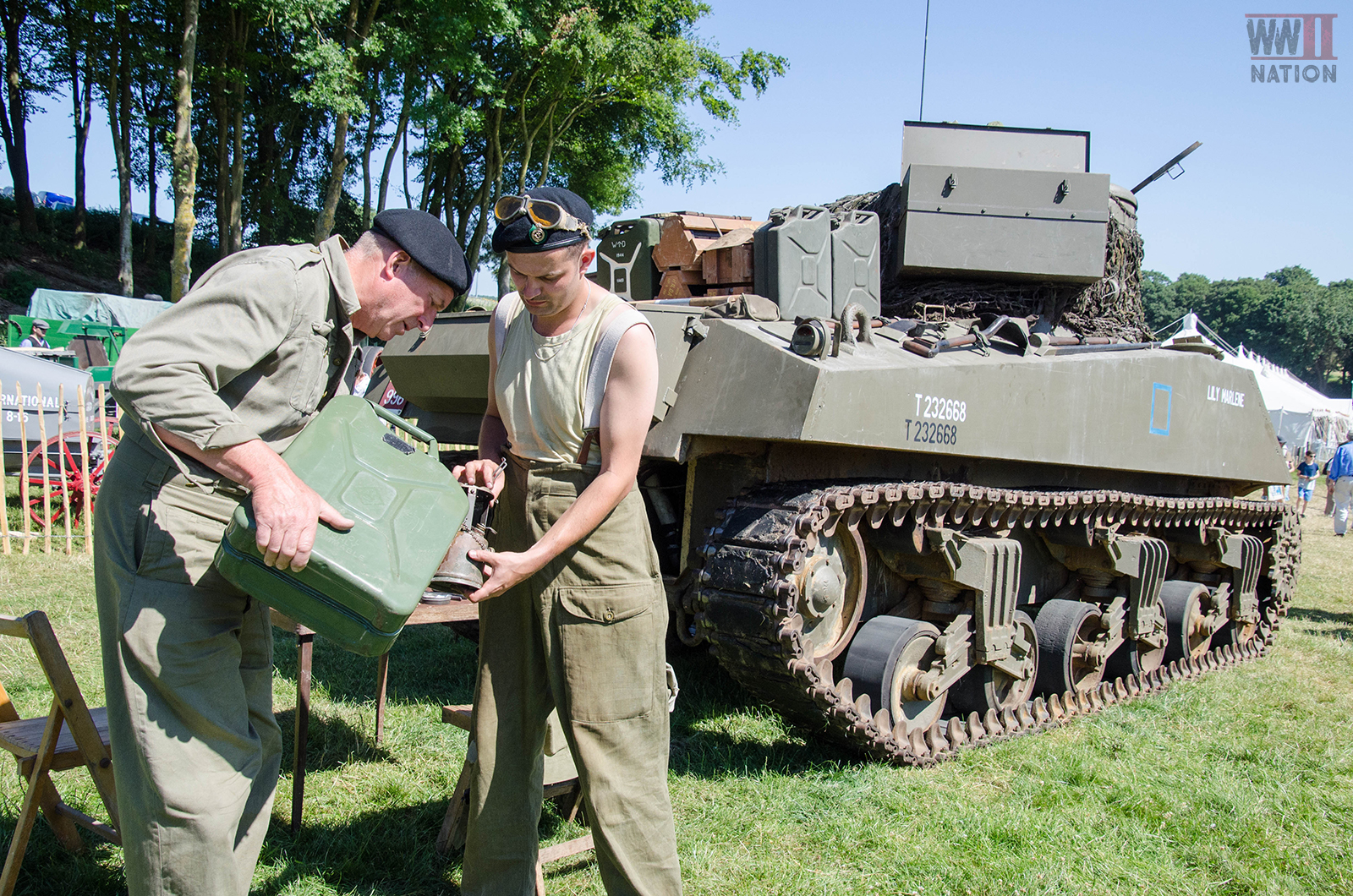 WW2 Sherman Tank Lily Marlene Tank Crew at the Chalke Valley History Festival 2018 One
