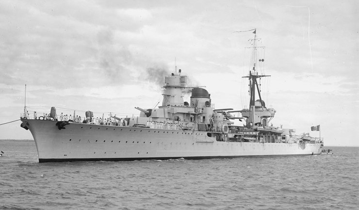 Italian cruiser Raymond Montecuccoli. By Allan C. Green 1878 - 1954 (State Library of Victoria [1]) [Public domain], via Wikimedia Commons