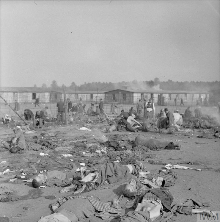 Camp inmates scavenge amongst the rubbish and dead bodies in the camp. © IWM (BU 3767)